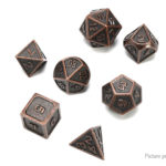 Copper Polyhedral Dice Set for Dungeons & Dragons (7 Pieces)