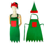 Christmas Elf Kitchen Cooking Apron + Santa Elf Hat Set