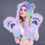 Animal Furry Hoddie Faux Fur Animal Ear Hood Hat Scarf Paw Mitten Christmas Cosplay Prop