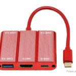 USB-C to USB-C + HDMI + 3-Port USB 3.0 Hub Converter Adapter