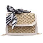 Straw PU Handbags Women Summer Rattan Ribbon Shoulder Crossbody Bag (White)