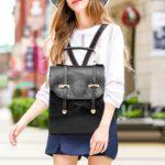Women Leather Travel Backpacks Shoulder School Bags Preppy Knapsack (Black)