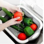Fruit Vegetable Washing Basin Folding Drain Basket Kitchen Cleaning Tool