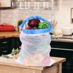 43x30cm Washable Organizer Reusable Mesh Produce Bags Kitchen Storage Pouch