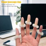 10pcs Finger Massager Ring for Hand Relax Health Care Acupuncture (Silver)
