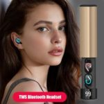 TWS Bluetooth Wireless Mini Earphone Stereo w/Mic Charging Box (Champagne)