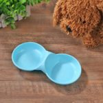 Dog Cat Double Bowl Puppy Food Water Feeder Pets Drinking Dishes (Blue)