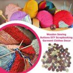 100pcs Retro Flower Print Wooden Sewing Buttons DIY Clothes Decor (25mm)