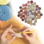 50pcs Flower Print Round Wooden Sewing Buttons DIY Knitting Clothes Decor