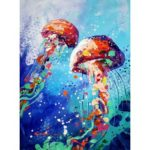 5D DIY Full Drill Diamond Painting Jellyfish Cross Stitch Embroidery Mosaic