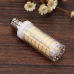 E12 9W LED Corn Light 220V No Strobe Ceramic Bulb Home Lighting Decor (WW)