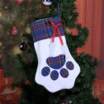 Plaid Dog Paw Shape Candy Bag Stocking Christmas Hanging Pendant (Blue)