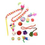 16pcs Funny Pet Cat Toy Cat Stick False Sisal Mouse Balls Interactive Toys