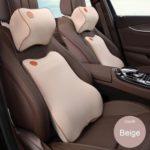 3D Memory Foam Car Pillow Neck Rest Pillow Waist Lumbar Support (Beige)