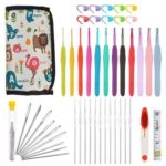 38pcs Soft Handle Crochet Hooks Needle Yarn Knitting Craft Sewing Bag Kit