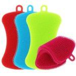 4pcs Silicone Dish Washing Brush Pot Pan Kitchen Cleaner Sponge Scrubber