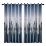 Cedar Print Polyester Window Blinds Drapes Bedroom Blackout Curtains (Grey)