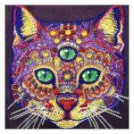 5D DIY Special Shaped Diamond Painting Cat Head Cross Stitch Mosaic Kits