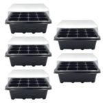 12 Cells Garden Planter Seedling Pot Nursery Plant Seed Tray (Black)(5pcs)