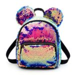 Mouse Ears Bags Kids Mini School Bag Women Travel Sequins Backpack (Blue)