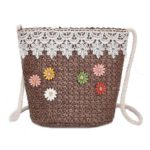 Flower Decor Shoulder Messenger Packs Straw Women Crossbody Bags (Coffee)