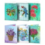 6pcs 5D DIY Special-shaped Diamond Painting Birthday Greeting Cards Gift