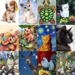 5D DIY Full Drill Diamond Painting Animal Cross Stitch Mosaic Kits (W601)