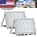2pcs Ultraslim 50W LED Floodlight Outdoor Security Lights 110V Cool white