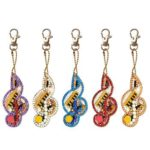 5pcs DIY Full Drill Diamond Paintng Special-shaped Musical Notes Key Chains