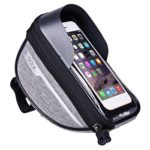 Polyester Bike Waterproof Bag Touchscreen Cell Phone Stand Pannier (Grey)
