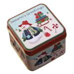 Christmas Candy Cans Iron Storage Tin Box Children Gift (White Snowman)