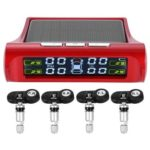Wireless Solar Power LCD Car Auto TPMS System with 4 Internal Sensors Red