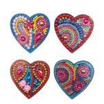 4pcs DIY Full Drill Special Shaped Heart Diamond Painting Fridge Magnet