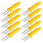 10pcs/set Stainless Steel Corn Holder Skewers BBQ Grill Prongs Fruit Forks