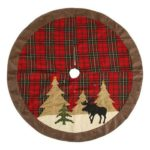 104cm Checked Cloth Christmas Tree Skirt Party Ornaments New Year Decor