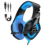 ONIKUMA K1-B Gaming Headphone 3.5mm Wired Headset w/ MIC for PC PS4 (Blue)