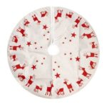 100cm Christmas Tree Skirts Embroidered Elk Print Festival Home Party Decor