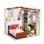 Christmas Dolly Pavilion DIY Wooden Miniature Dollhouse w/Dustproof Sheet