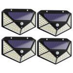 4pcs 100LED Solar Motion Sensor Wall Light Waterproof Yard Security Lamp