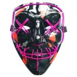 EL Luminous Glowing Masks Halloween Masquerade Makeup Party Decor (Purple)