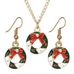 Creative Christmas Drop Earrings Rhinestone Pendant Necklace Jewelry Set