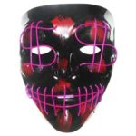 EL Dollar Symbol Glow Mask Halloween Makeup Masquerade Party Decor (Purple)