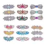 3pcs Butterfly Rhinestone Hair Clip DIY Crystal Bowknot Barrettes (Style 6)