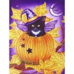 5D DIY Special Shaped Diamond Painting Pumpkin Cat Cross Stitch Mosaic Kits