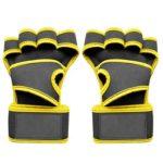 Anti-slip Sports Dumbbell Gloves Pull-ups Half Finger Gloves (Yellow L)