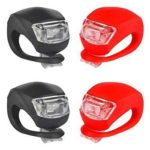 4x LED Bicycle Lights 3 Modes Silicone Waterproof Front Rear Lamp Red Black