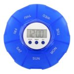 Alarm Timer Pill Case Organizer Timing Reminder Medicine Box (Blue L)