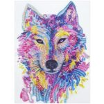 5D DIY Special Shaped Diamond Painting Wolf Head Embroidery Craft Kit Decor