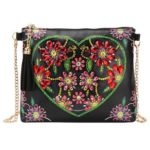 DIY Heart Flower Special Shaped Diamond Painting Leather Chain Shoulder Bag