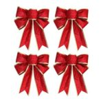 4pcs Christmas Bowknot Xmas Tree Pendant Ornaments New Year Decor (Red)